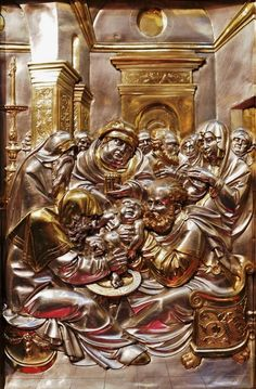 Circumcision of Christ, section of the silver altarpiece with Life of the Virgin by Hans Dürer (overall design), Georg Herten (wooden frame), Peter Flötner (wooden reliefs), Pankraz Labenwolf (brass casts) and Melchior Baier (goldsmithery), 1531-1538, Kaplica Zygmuntowska, commissioned by Sigismund I the Old