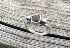 Moldavite Ring in Sterling Silver with Hand Patterned Band. Meteorite ring with scrolled sides. Unique rare gemstone ring by LoMoStudio on Etsy