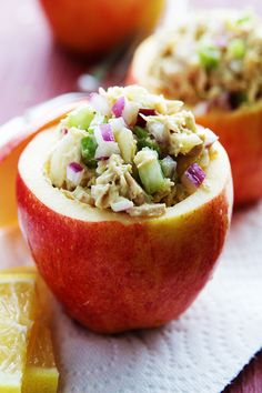 Tuna and Apple Salad in Apple Cups. Quick and easy to make. These work for a fun luncheon or even an appetizer to a dinner party. #recipe