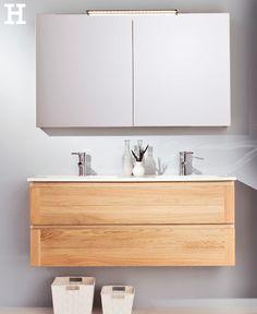"""Der hochwertige Waschtischunterschrank der Serie """"Capri"""" bestehend aus 2 Schubkästen und einem Keramik-Doppelwaschtisch in Weiß macht das Badezimmer zum echten Spa. #bad #idee #badezimmer #spa #holz"""