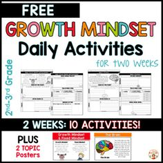 These FREE DAILY growth mindset activities are perfect for teachers who are looking for quick, easy to use, information-packed daily growth mindset instruction. These 10 activities, which span across 2 weeks, are a sample from this larger product that lasts and entire year!