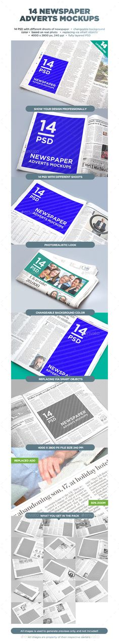 14 Newspaper Adverts Mockups - Miscellaneous Print