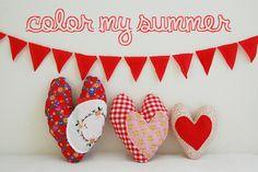 Hidden pocket heart pillows! color my summer: red
