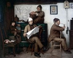 """The Farmers and the Newspaper"" (1867), by Swiss artist - Albert Anker (1831-1910), Oil on canvas, 64 x 80.5 cm. (25.2 x 31.69 in.), Private collection."