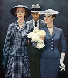 THE STUDIO COMMISSARY 50s vintage fashion grey suit dress jacket skirt checks plaid hat gloves dress color photo print ad models magazine wasp waist
