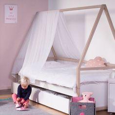 Abenteuerbett / Spielbett WIGWAM inkl. Bettkasten, weiß-natur, 90x200cm