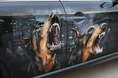 Beautiful Drawings On Cars Pics) Car Paint Jobs, Custom Paint Jobs, Custom Art, Airbrush Art, Automotive Art, Gothic, Car Painting, Car Wrap, Beautiful Drawings