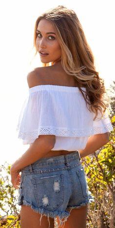#summer #shorts #trend #outfitideas |White Off Shoulder Top + Denim Cut-Offs