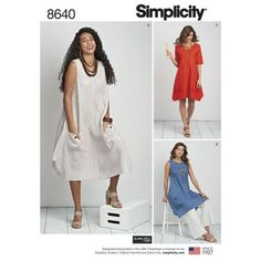 2476ac077c Baggy handkerchief dress or tunic with pockets New Sewing Pattern for Women  minimalist clothes in Misses and Plus Size 8640 Simplicity