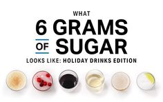 What 6 Grams of Sugar Looks Like (Holiday Drinks Edition) Under 300 Calories, 500 Calories, Keto Holiday, Holiday Recipes, Gram Of Sugar, Sugar Intake, Holiday Drinks, Healthy Food Choices, Yummy Drinks