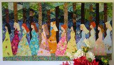 Twelve Princesses - Quilt Fabric Art. $800.00, via Etsy.