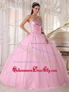 sweet 16 dresses   Strapless Baby Pink Beading and Ruching Sweet 16 Dresses -$199.46