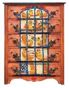 (lot of 3) Peter Hunt folk art inspired bedroom suite : Lot 2092
