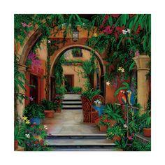 Hacienda Style Homes, Spanish Style Homes, Spanish Colonial, Mexican Style Homes, Spanish Exterior, Colonial Art, Tile Murals, Mural Wall Art, Tile Art