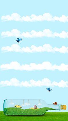 ↑↑TAP AND GET THE FREE APP! Shelves Beautiful Landscape Blue Cool Clouds Funny Birds Bottle Car VW Beetle Snail Calm Art Illustration HD iPhone 6 plus Wallpaper