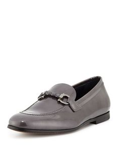 Roman Patent Gancini Loafer, Gunmetal by Salvatore Ferragamo at Neiman Marcus.