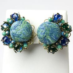 Alice Caviness Vintage Jewelry - Turquoise & Sapphire 1950s Earrings