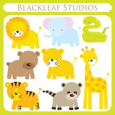 Baby Animals Clip Art Instant Download- cute, lion, giraffe, tiger, leopard, snake, safari, racoon, bear, jungle- Personal and Commercial. $5.00, via Etsy.