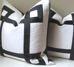 Set of Two  Black and White Pillow Covers  20  22  by studiotullia, $150.00