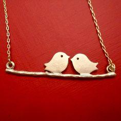 Two Cute Birdies in Love  Dainty Necklace on by ASimpleKindOfFancy, $14.50