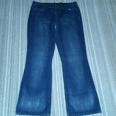 Distressed DKNYs Too small for me right now.  In need of a new home.  Dark denim and distressed.  100% cotton.  :) DKNY Jeans Flare & Wide Leg