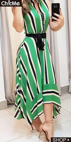 Contrast Striped Irregular Dress is part of Wedding nails Acrylic Valentines Day - Wedding nails Acrylic Valentines Day Hijab Fashion, Fashion Dresses, Cute Dresses, Casual Dresses, Hijab Stile, Dress Patterns, African Fashion, Dress To Impress, Designer Dresses
