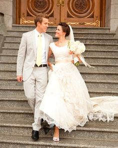 LDS Wedding Great Ideas.  And I love the lace dress!! NOTE THE NON-STAR TREK SLEEVES! This gives me hope that not all cap sleeves look funky on formal gowns :)