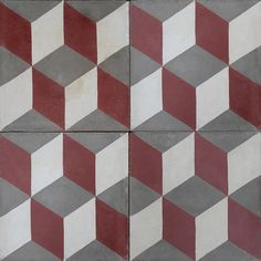 Antique cement tiles of red, white and grey. Optical illusion of stacking blocks