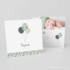 Faire-part de naissance trio de ballons, vert, menthe - Modèle Baptiste