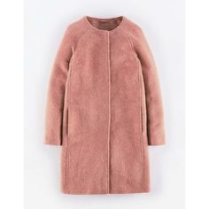 Boden Sienna Coat ($288) ❤ liked on Polyvore featuring outerwear, coats, mohair coat, red coat, boden and collarless coat