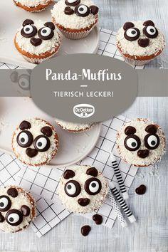 Panda Muffins: Funny animal muffins for kids Animal Cupcakes, Panda Cupcakes, Cake Games, Frozen Drinks, Vegan Pumpkin, Pumpkin Spice Cupcakes, Peanut Butter Cups, Healthy Treats, Vegan Desserts