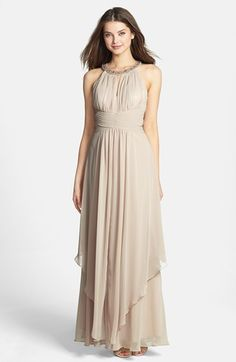 Eliza J Embellished Tiered Chiffon Halter Gown. WANT MAYBE IN DIFFERENT COLOR