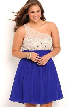 Deb Shops plus size one shoulder illusion mesh stone bodice #homecoming dress with soft circle skirt
