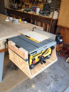 Diy shop vac dust collector pinterest woodworking shop ideas dewalt table saw mounted to paulk workbench woodworking talk woodworkers forum now all i need to do is make it rotate on a 90 degree turntable greentooth Choice Image