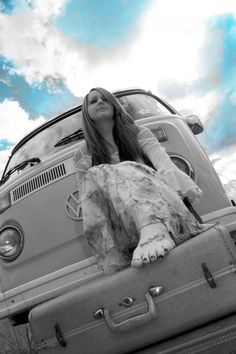 Senior picture ideas for girls - On van, on car, beautiful, vintage, black and white