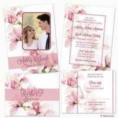 Pink Orchid Flower Photo Wedding Invitation and RSVP Reply Card Printed on Etsy, $109.00