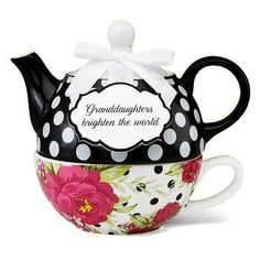 """Granddaughters Brighten the World"" Tea for One Set - Roses And Teacups"