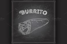 Burrito scetch on a black board by Netkoff on @creativemarket