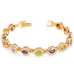 Colorful Cubic Zirconia Bangle Crystal 18k Gold Plated Bracelets