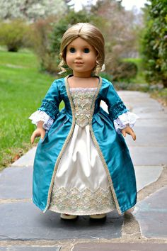 Colonial Ball Gown for American Girl dolls of silk with hand beading by PemberleyThreads on Etsy  $78.50