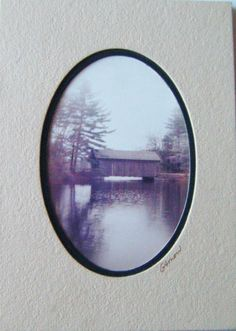 Beautiful Double Matted Signed Covered Bridge Photo Ready to Frame Vintage by parkledge on Etsy