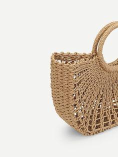 O-Ring Handle Straw Bag   SHEIN Tan Tote Bag, O Bag, Cute Handbags, Knitted Bags, Crochet Bags, Basket Bag, Brown Purses, Purse Styles, Straw Bag