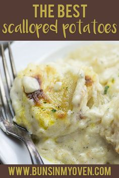 These cheesy scalloped potatoes are the creamiest, cheesiest potatoes ever. We make them for every holiday!! #recipe #holiday #potatoes #sidedish