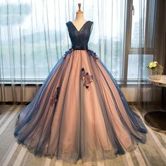 Deep V Neckline Ball Gown Lace Long Evening Prom Dresses, Popular Cheap Long 2018 Party Prom Dresses, 17234