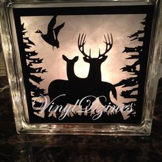 Deer & Turkey Lighted Glass Block, Hunting Country Rustic by VinylDzines on Etsy