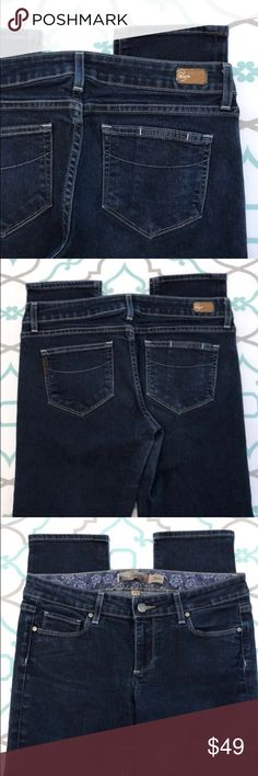 """💙👖Beautiful Paige Capri Jeans👖💙29 7/8 27"""" Dark 💙👖Beautiful Paige Cropped Jeans👖💙 Size 29 (7/8). 26.75"""" Inseam. 8.25"""" Rise. 15.5"""" Across Back. Amazing Stretch. Dark Blue Wash. Slightly Faded. Slight lighter Discoloration/""""stain"""" mark as pictured. Skyline Fit. Crops. Ankle Length. Very Cute! So Sorry some the pictures came out just a little blurry. Please let me know if you have any questions! ; ) Paige Jeans Jeans Ankle & Cropped"""