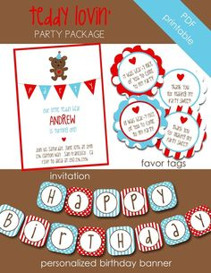 bear party - love the birthday sign font