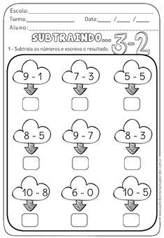 Atividade Pronta - Subtraindo First Grade Math Worksheets, Subtraction Worksheets, Kindergarten Math Worksheets, Preschool Curriculum, Toddler Worksheets, Preschool Writing, Numbers Preschool, Educational Activities For Preschoolers, Math Activities