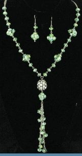 Green Glass Bead Necklace with Earrings Accented with Clear Rhinestones $20 @ www.whimzaccessories.com