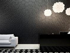 Organic Geometric Concrete Tile by KAZA Concrete concrete tile collection living room interior in Wallcoverings